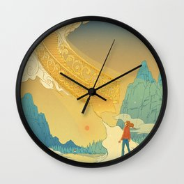 Golden Staircase Wall Clock