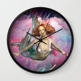 Intergalactic Space Sirens the Universal Flying Mermaids of Our Dreams Wall Clock