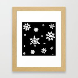 Snowflakes | Black & White Framed Art Print