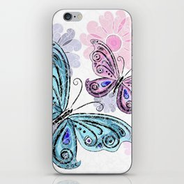 Colorful Butterflies and Flowers V10 iPhone Skin