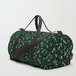 Black, green geometric pattern. Duffle Bag