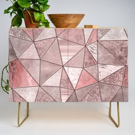 Soft Pink Coral Glamour Gemstone Triangles Credenza