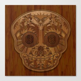 Wooden Sugar Skull Canvas Print