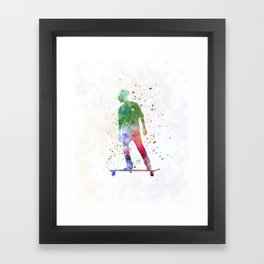 Man skateboard 08 in watercolor Framed Art Print