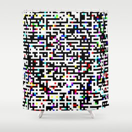 Abstract 8 Bit Pattern Shower Curtain