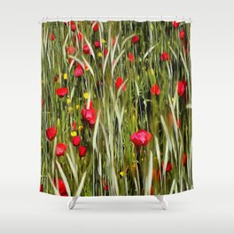Red Poppies In A Cornfield Shower Curtain