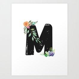 Letter M - Botanical English Alphabet, Name Initial Art Print