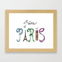 J'aime Paris - Eiffel Tower and Macaron Photograph and Illustration Framed Art Print