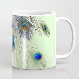 DECORATIVE BLUE GREEN PEACOCK FEATHER & JEWELS #3 PATTERN Coffee Mug