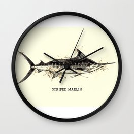 Striped Marlin Vintage Art for the Ocean Lovers and Extreme Anglers / Gifts for Fisherman Wall Clock