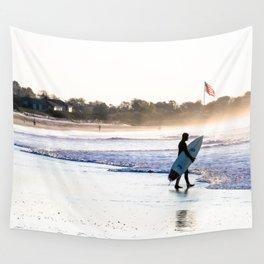 Surfer in Narragansett Wall Tapestry