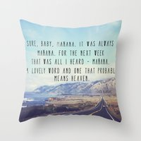 kerouac Throw Pillows featuring Hwy 1 Kerouac by Altgasse Designs