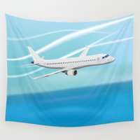airplane Wall Tapestries featuring Airplane by salamandra7