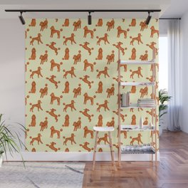 Red Poodles Pattern (Light Yellow Background) Wall Mural