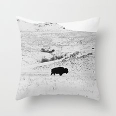 Black and White Bison Throw Pillow
