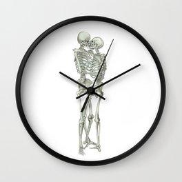 Love, kissing couple, skeleton, anatomy, human, kiss, relationship, marriage Wall Clock