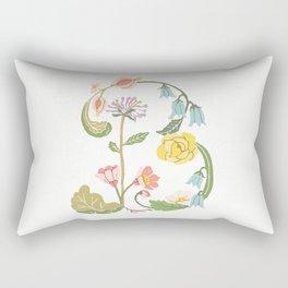 Botanical Letter B Rectangular Pillow