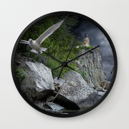Fleeing the Coming Storm at Split Rock Lighthouse Wall Clock