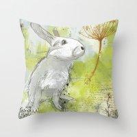 rabbit Throw Pillows featuring Rabbit by Melissa McGill