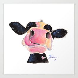 Nosey Cow ' JAMMIE JESSIE ' by Shirley MacArthur Art Print