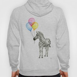 Zebra with Balloons Baby Animal Hoody