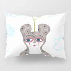lonely cute creature with rose bush Pillow Sham