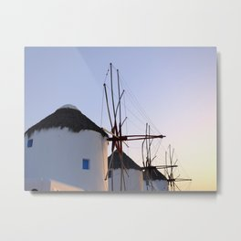Famous Mykonos Windmills in Greece Metal Print
