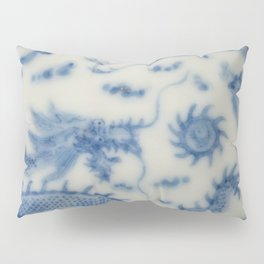 Damask vintage Monaco blue white girly ginger jar floral antique chinese dragon chinoiserie china Pillow Sham