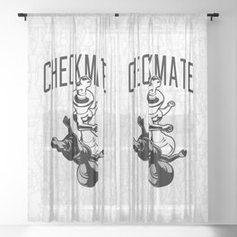 Checkmate Punch Funny Boxing Chess Sheer Curtain