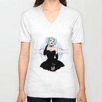 pinup V-neck T-shirts featuring Goth Pinup by CatAstrophe