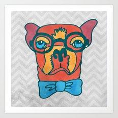 Bowdy Boston Terrier the Handsome Asture Geek Dog Art Print