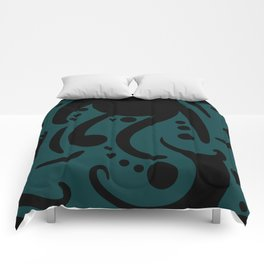 A Moderate Abstraction: Black and Blue Comforters