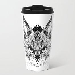 WILD CAT head. psychedelic / zentangle style Travel Mug