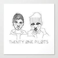 cactei Canvas Prints featuring Josh/Tyler by ☿ cactei ☿