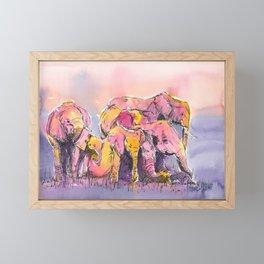 Herd of Elephants Framed Mini Art Print