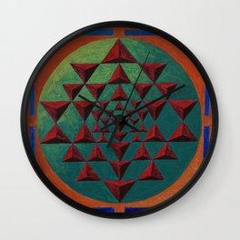sri yantra 3d Wall Clock