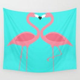 Flamingos Kissing Wall Tapestry