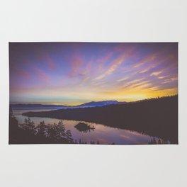 Colorful misty sunrise over Lake Tahoe Rug