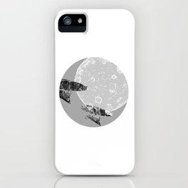 Around the Moon Grey Textured Version 1 iPhone Case