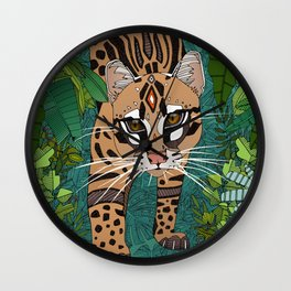 ocelot jungle green Wall Clock