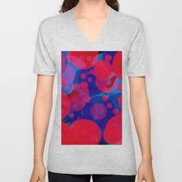 bubbles in red and blue Unisex V-Neck