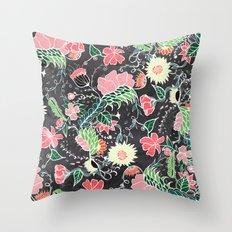 Pastel preppy hand drawn garden flowers chalkboard Throw Pillow