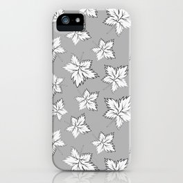 Maple Leaves - Gray Pattern iPhone Case
