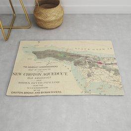 Vintage Map of NYC & The Croton Aqueduct (1899) Rug