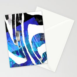 Blue And Black Abstract Zebra Art - Sharon Cummings Stationery Cards