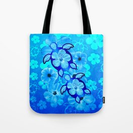 Tropical Hibiscus Flowers And Honu Turtles Tote Bag