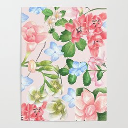 Watercolor Floral Collage in Blush Poster