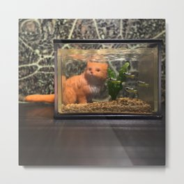 The Cat + the Aquarium Metal Print