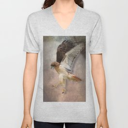 Red Tail Hawk in Vintage Light Unisex V-Neck