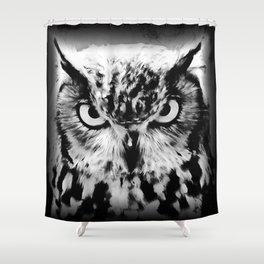 owl look digital painting reacbw Shower Curtain